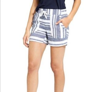 Athleta Size 4 Linen Shorts Blue & White Striped